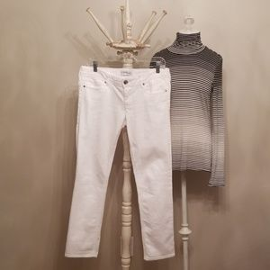 Express White Cropped Skinny Stella Low Rise Jeans
